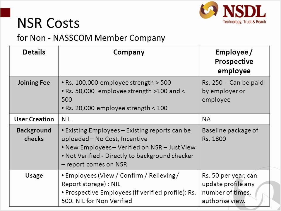 NSR Costs for Non - NASSCOM Member Company