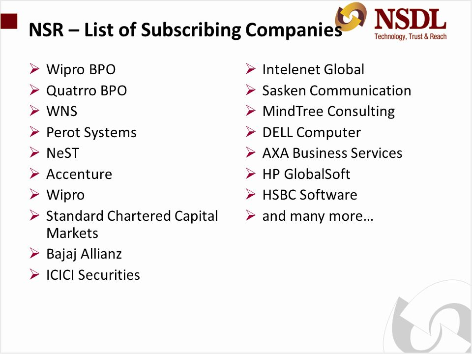 NSR – List of Subscribing Companies