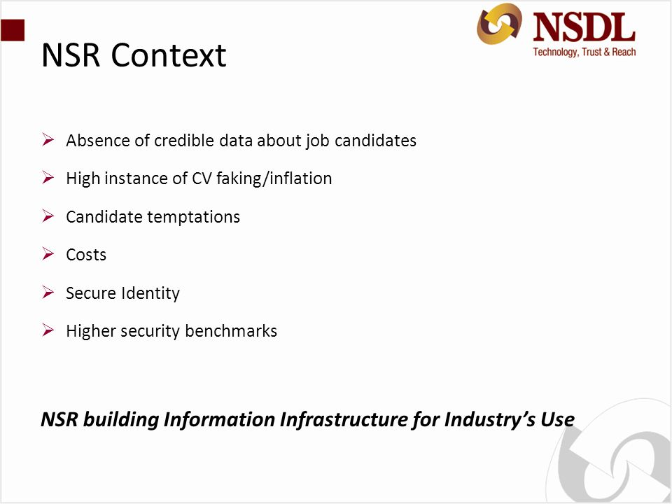 NSR Context NSR building Information Infrastructure for Industry's Use