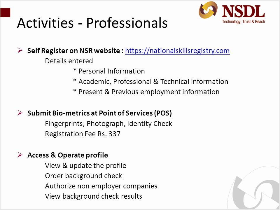 Activities - Professionals