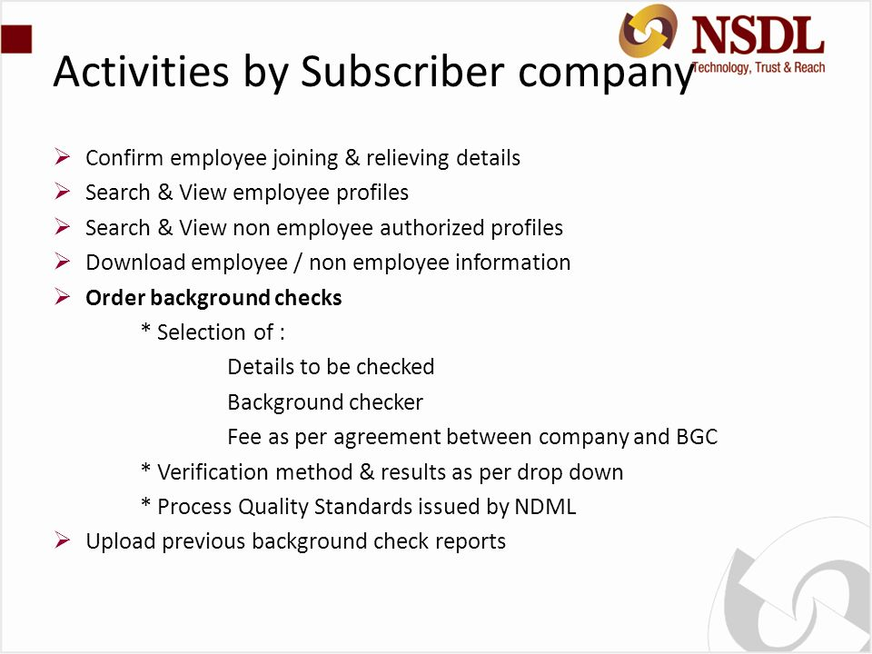Activities by Subscriber company