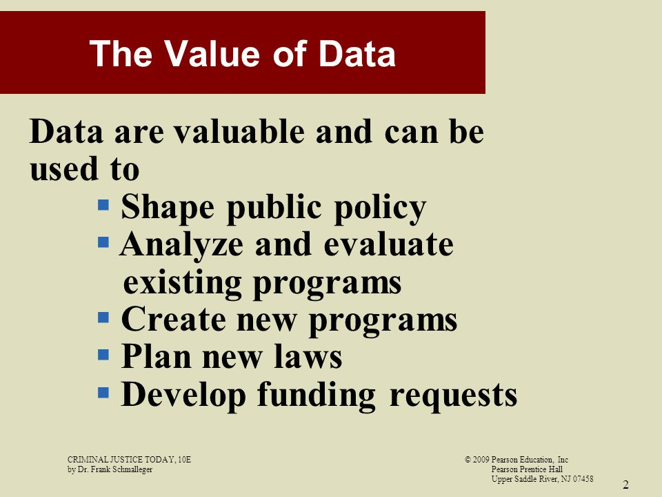 Data are valuable and can be used to Shape public policy
