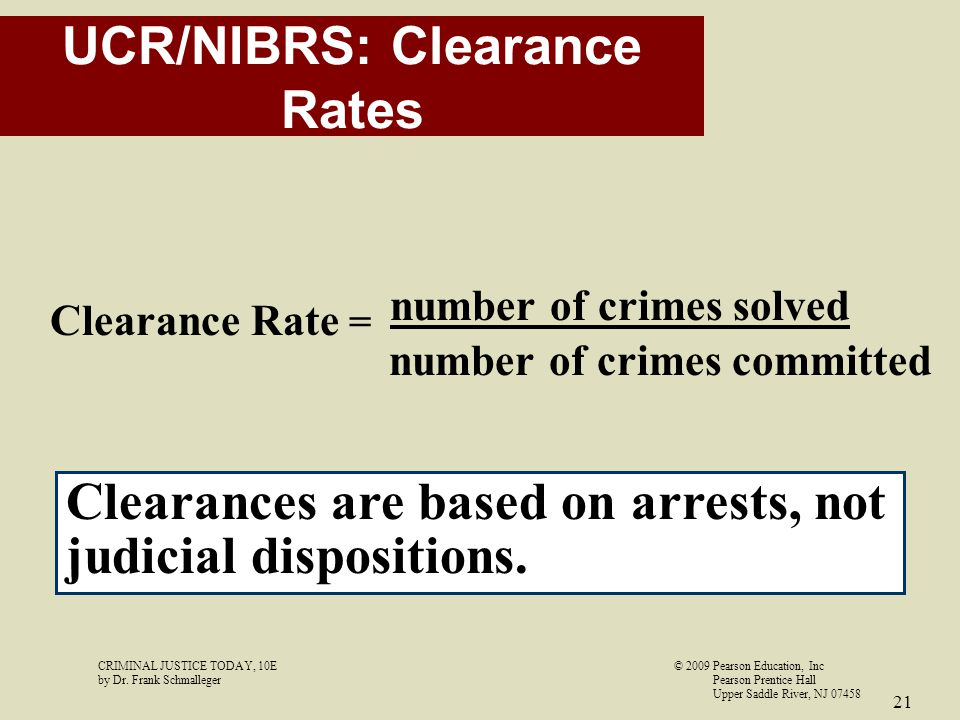 UCR/NIBRS: Clearance Rates