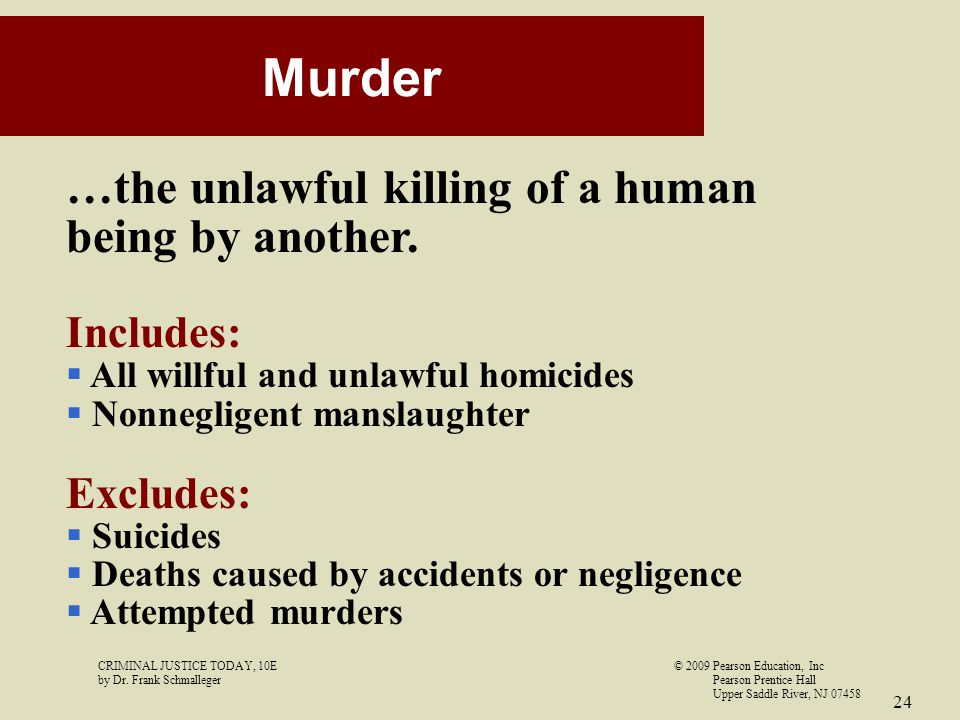 Murder …the unlawful killing of a human being by another. Includes: