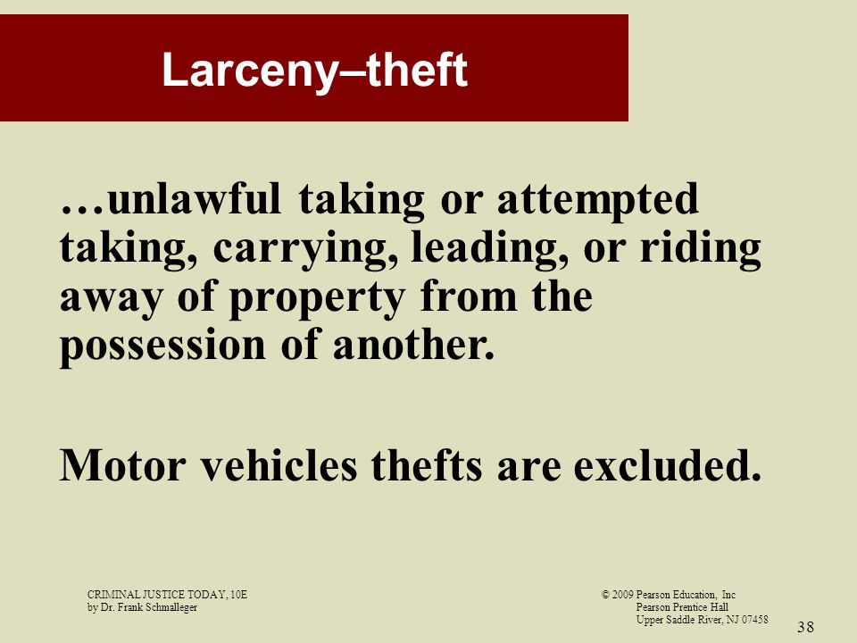 Motor vehicles thefts are excluded.