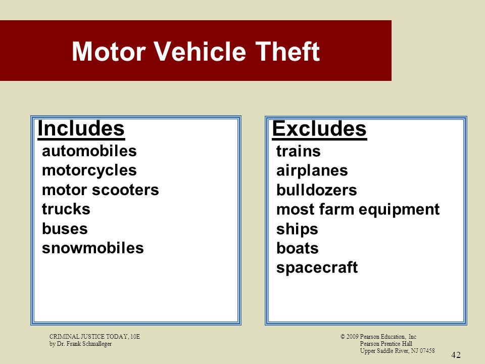 Motor Vehicle Theft Includes Excludes automobiles motorcycles