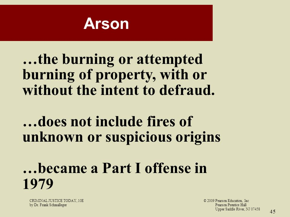 Arson …the burning or attempted burning of property, with or without the intent to defraud. …does not include fires of unknown or suspicious origins.