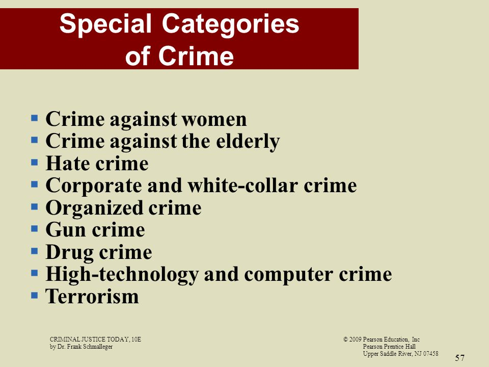 Special Categories of Crime