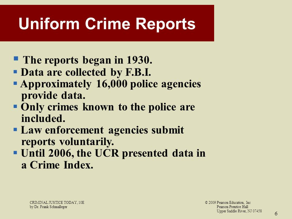 Uniform Crime Reports The reports began in 1930.