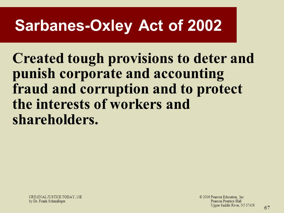 sarbanese oxley act of 2002 How to limit corporate liability after sarbanes-oxley the sarbanes-oxley act (sox) provides a legal model for running corporations of all sizes, regardless of whether they're publicly traded and technically subject to sox.