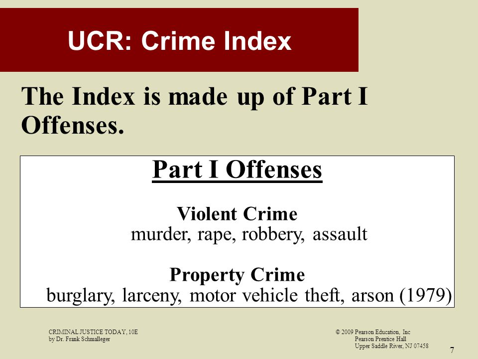 The Index is made up of Part I Offenses.