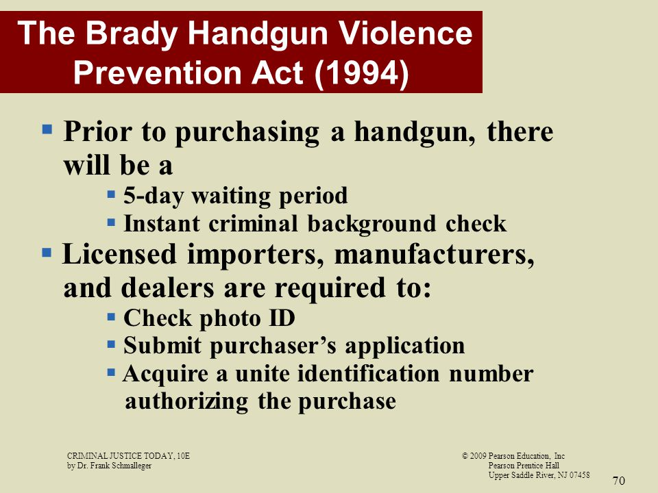 The Brady Handgun Violence Prevention Act (1994)