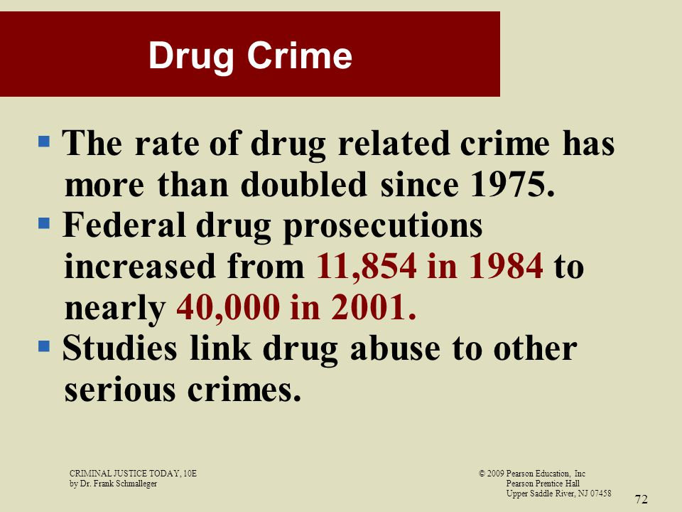 The rate of drug related crime has more than doubled since 1975.