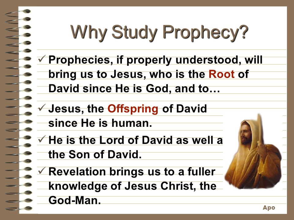 Why Study Prophecy Prophecies, if properly understood, will bring us to Jesus, who is the Root of David since He is God, and to…