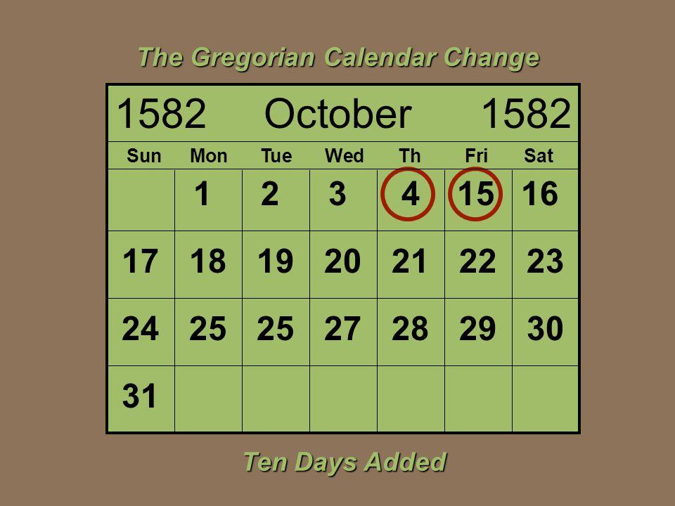 The Gregorian Calendar Change
