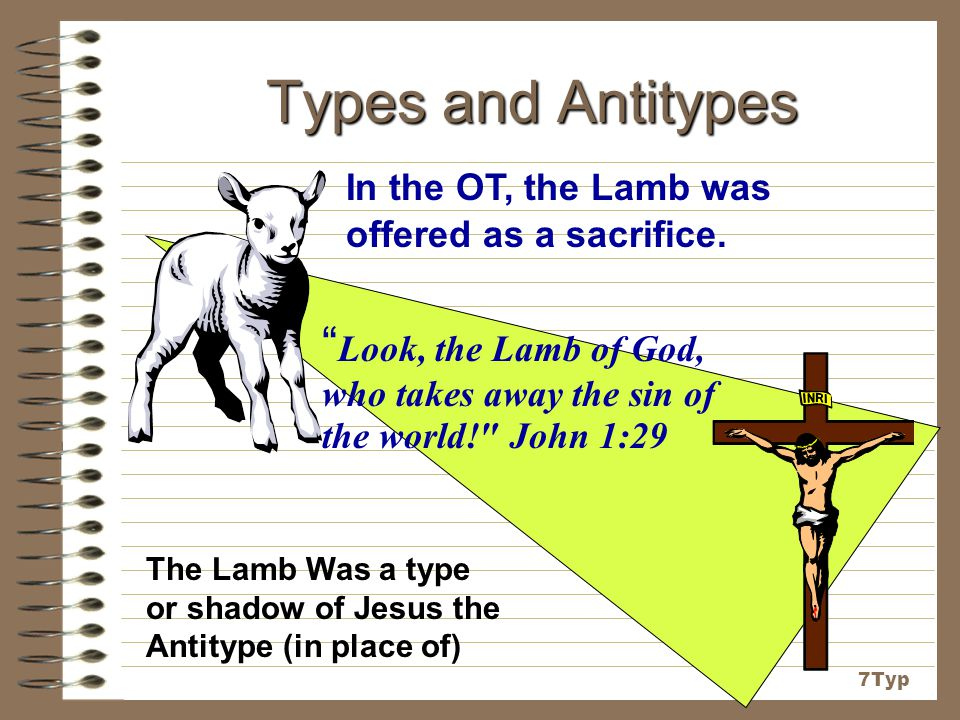 Types and Antitypes In the OT, the Lamb was offered as a sacrifice. Look, the Lamb of God, who takes away the sin of the world! John 1:29.