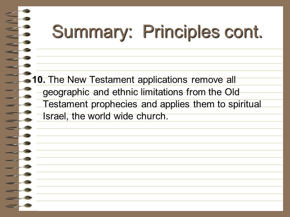 Summary: Principles cont.