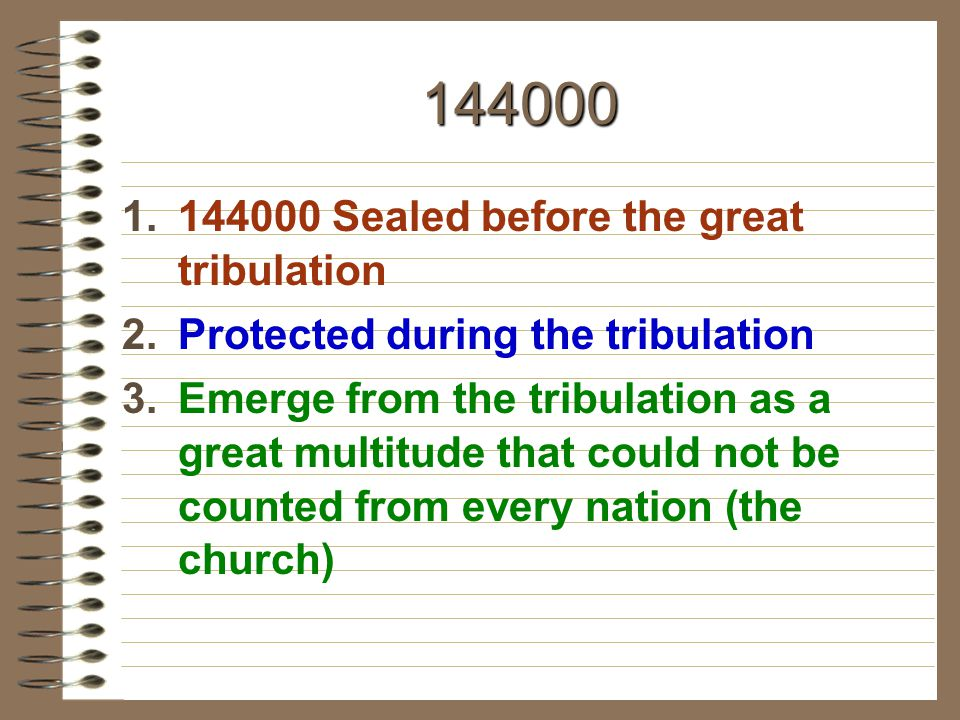 144000 144000 Sealed before the great tribulation