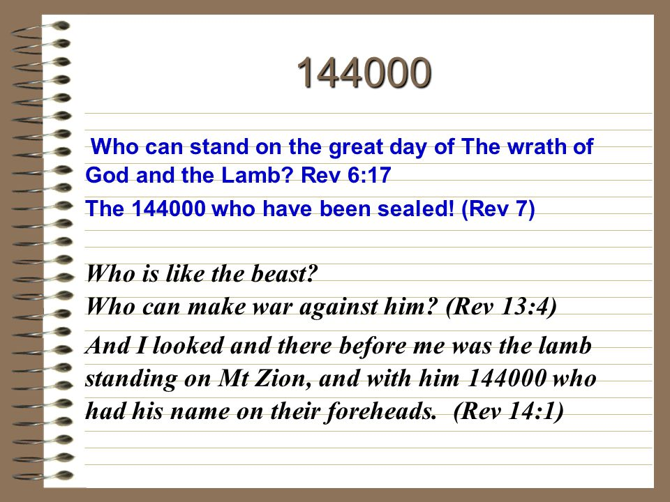 144000 Who is like the beast Who can make war against him (Rev 13:4)