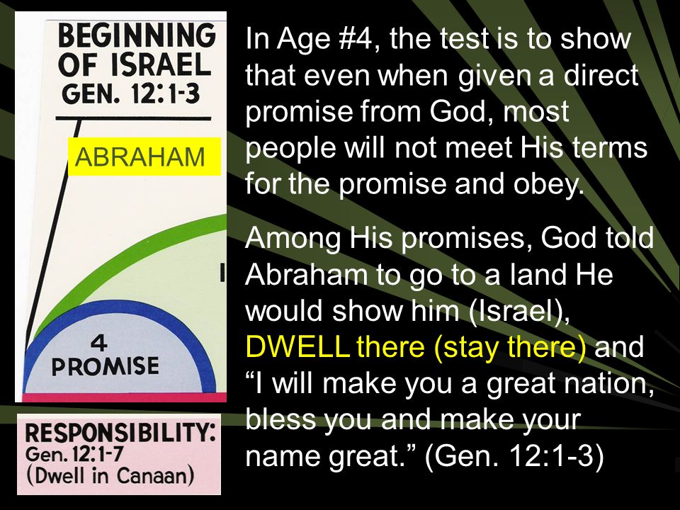 In Age #4, the test is to show that even when given a direct promise from God, most people will not meet His terms for the promise and obey.