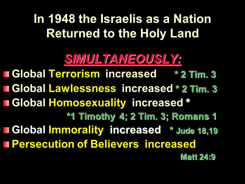 In 1948 the Israelis as a Nation Returned to the Holy Land