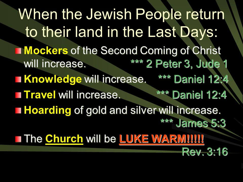 When the Jewish People return to their land in the Last Days: