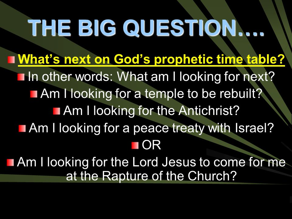 What's next on God's prophetic time table