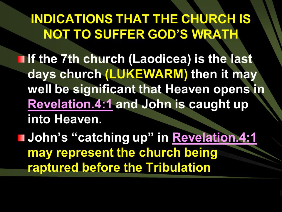 INDICATIONS THAT THE CHURCH IS NOT TO SUFFER GOD'S WRATH