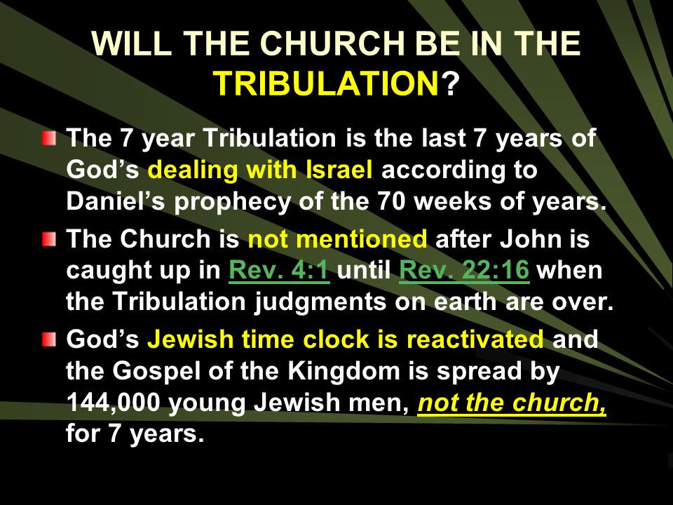 WILL THE CHURCH BE IN THE TRIBULATION