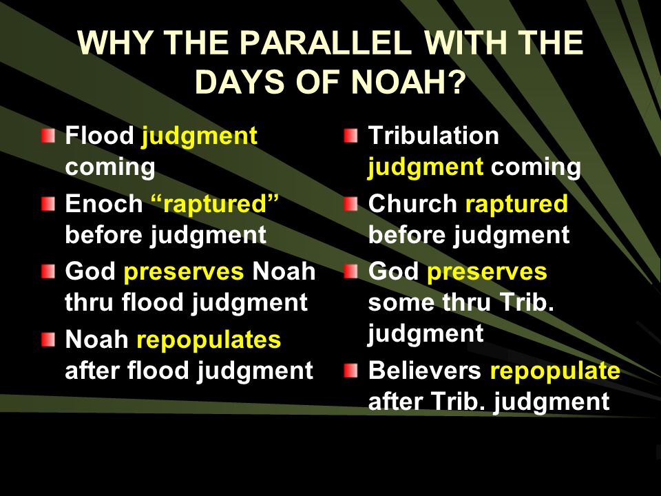 WHY THE PARALLEL WITH THE DAYS OF NOAH