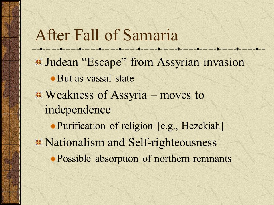 After Fall of Samaria Judean Escape from Assyrian invasion
