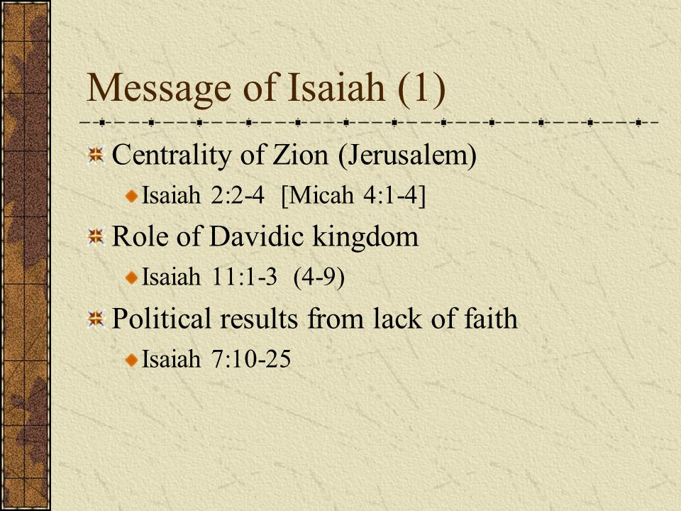 Message of Isaiah (1) Centrality of Zion (Jerusalem)