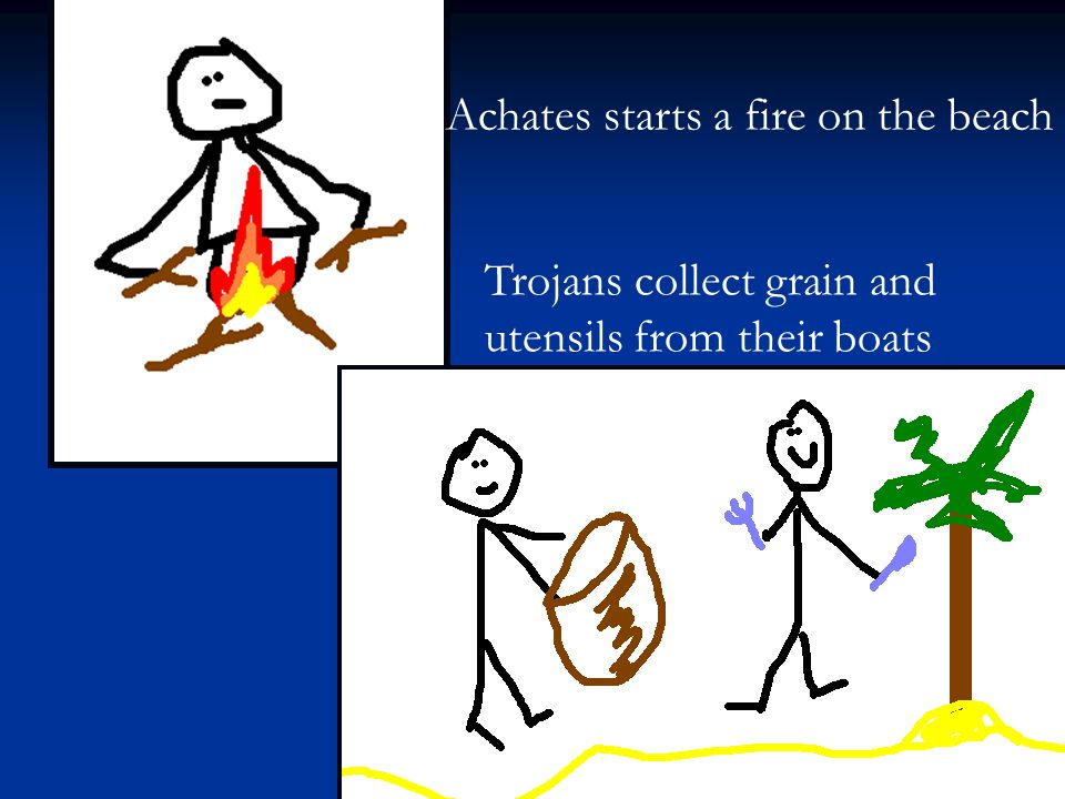 Achates starts a fire on the beach
