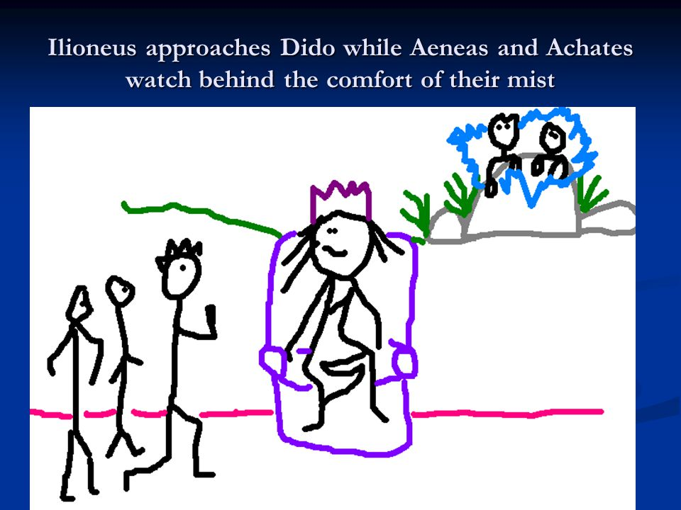 Ilioneus approaches Dido while Aeneas and Achates watch behind the comfort of their mist