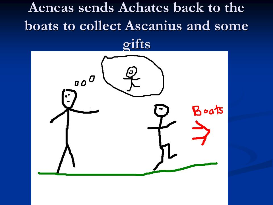 Aeneas sends Achates back to the boats to collect Ascanius and some gifts