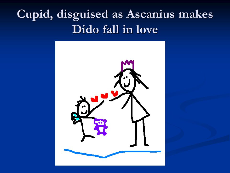 Cupid, disguised as Ascanius makes Dido fall in love