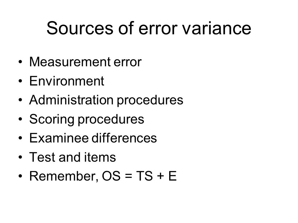 Sources of error variance