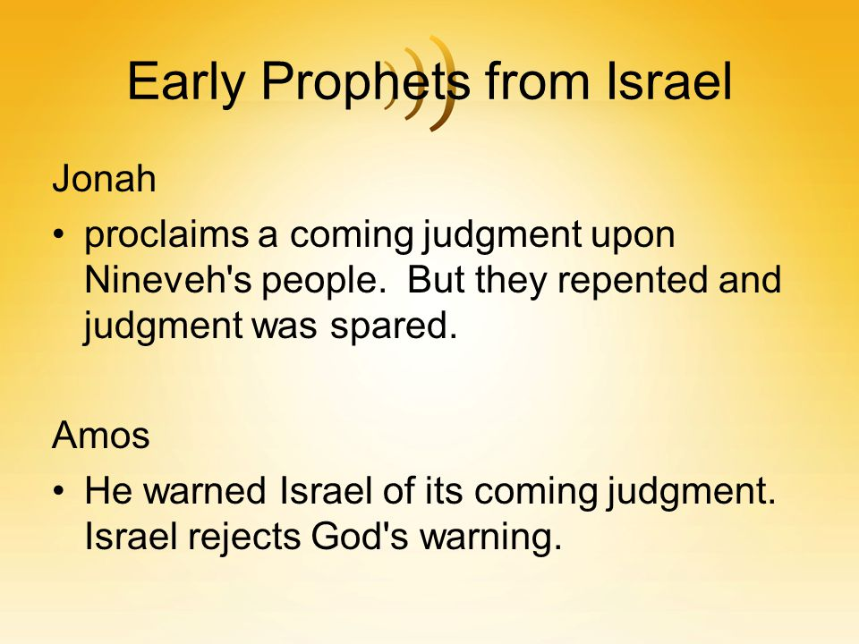 Early Prophets from Israel