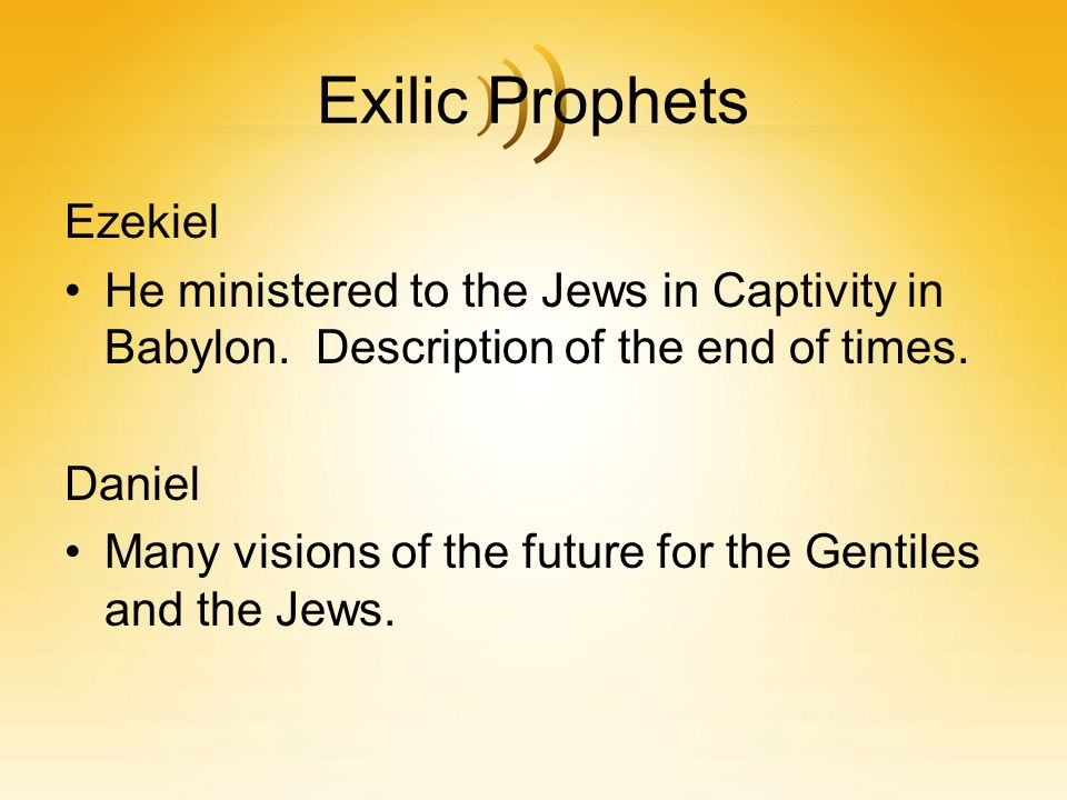 Exilic Prophets Ezekiel