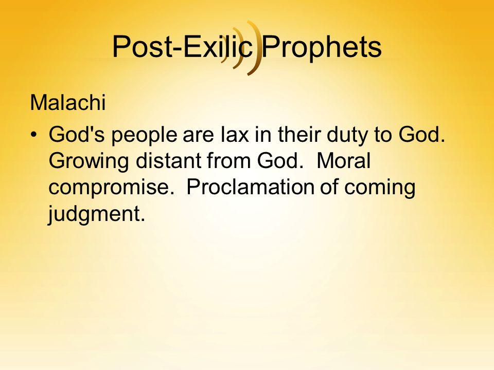 Post-Exilic Prophets Malachi