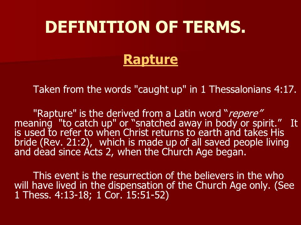 DEFINITION OF TERMS. Rapture