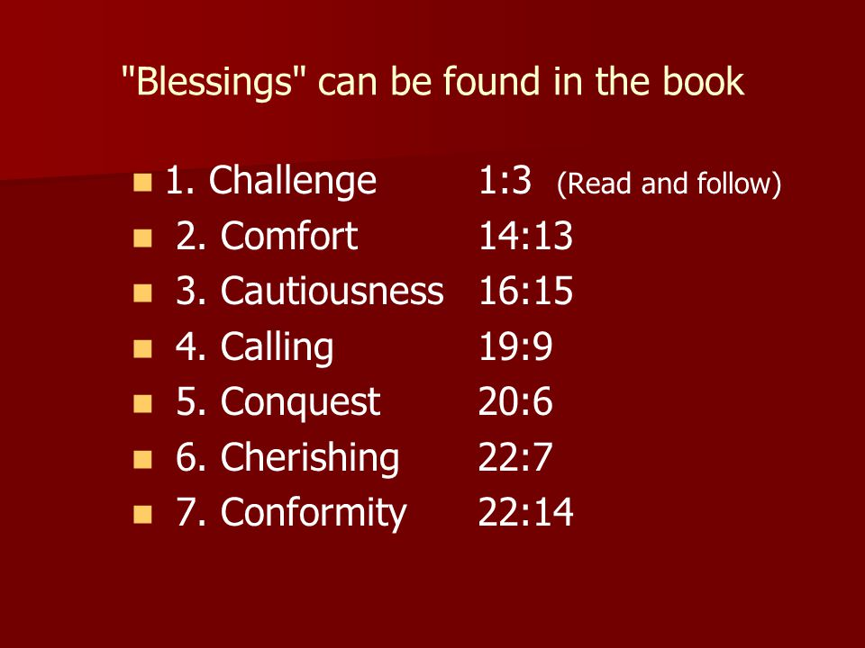 Blessings can be found in the book