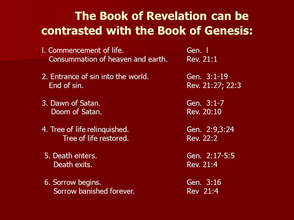 The Book of Revelation can be contrasted with the Book of Genesis: