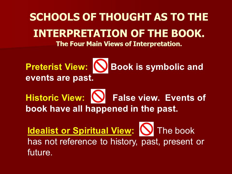 SCHOOLS OF THOUGHT AS TO THE INTERPRETATION OF THE BOOK