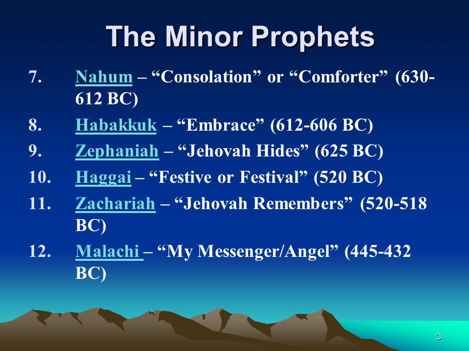 The Minor Prophets Nahum – Consolation or Comforter (630-612 BC)