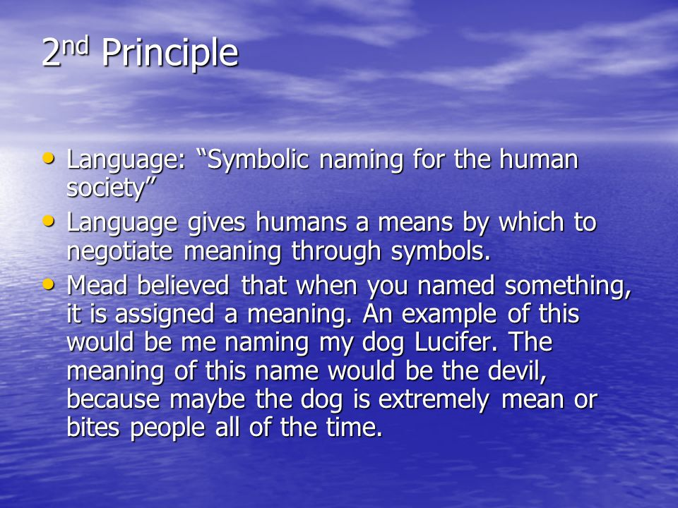 2nd Principle Language: Symbolic naming for the human society