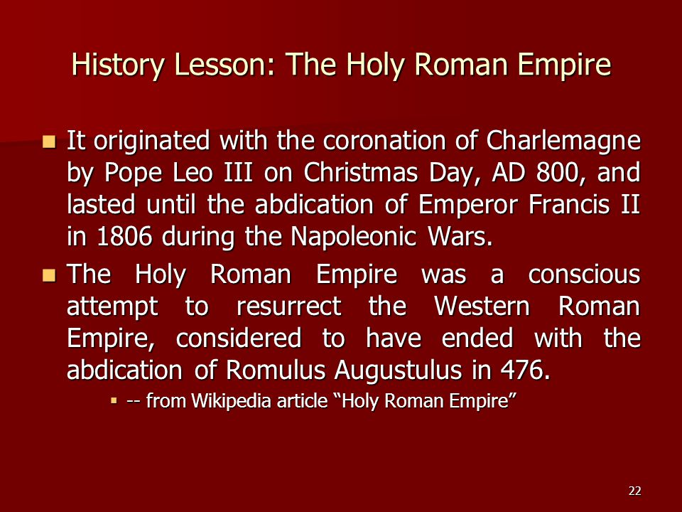 History Lesson: The Holy Roman Empire
