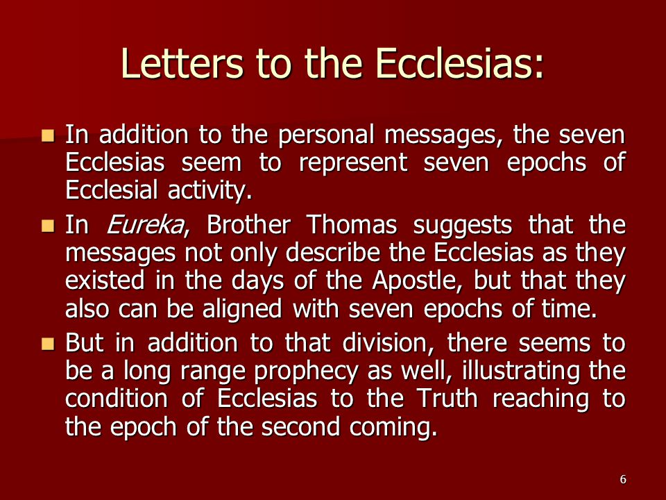 Letters to the Ecclesias: