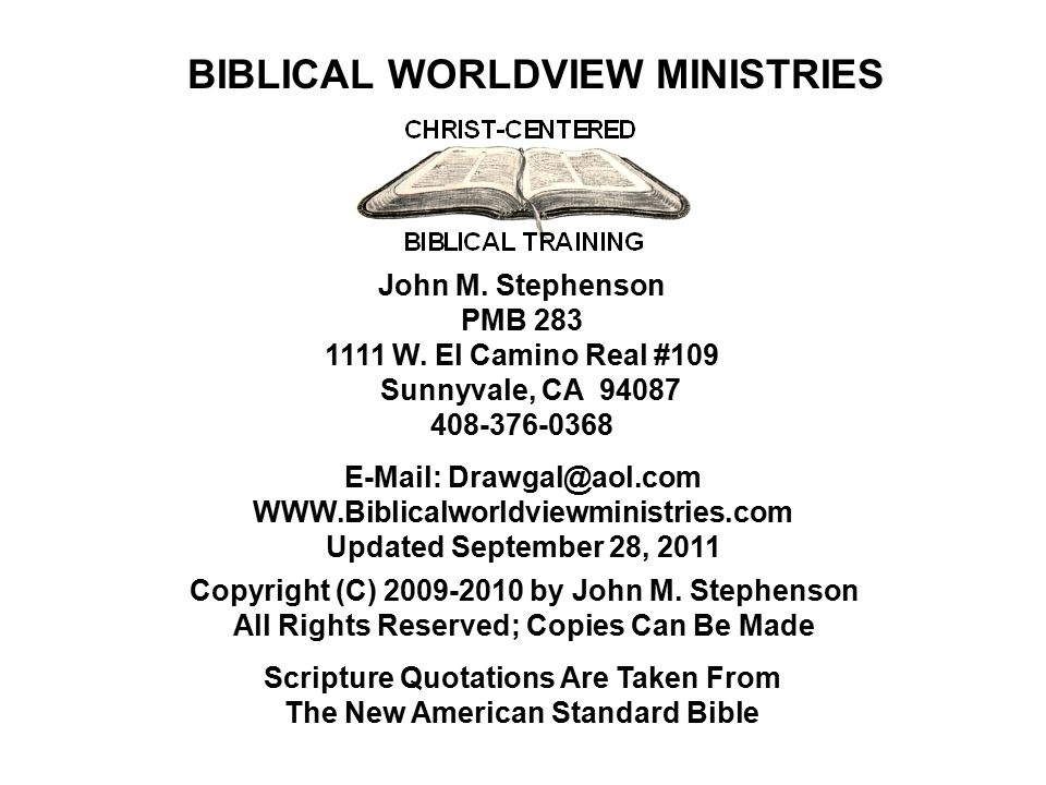 BIBLICAL WORLDVIEW MINISTRIES