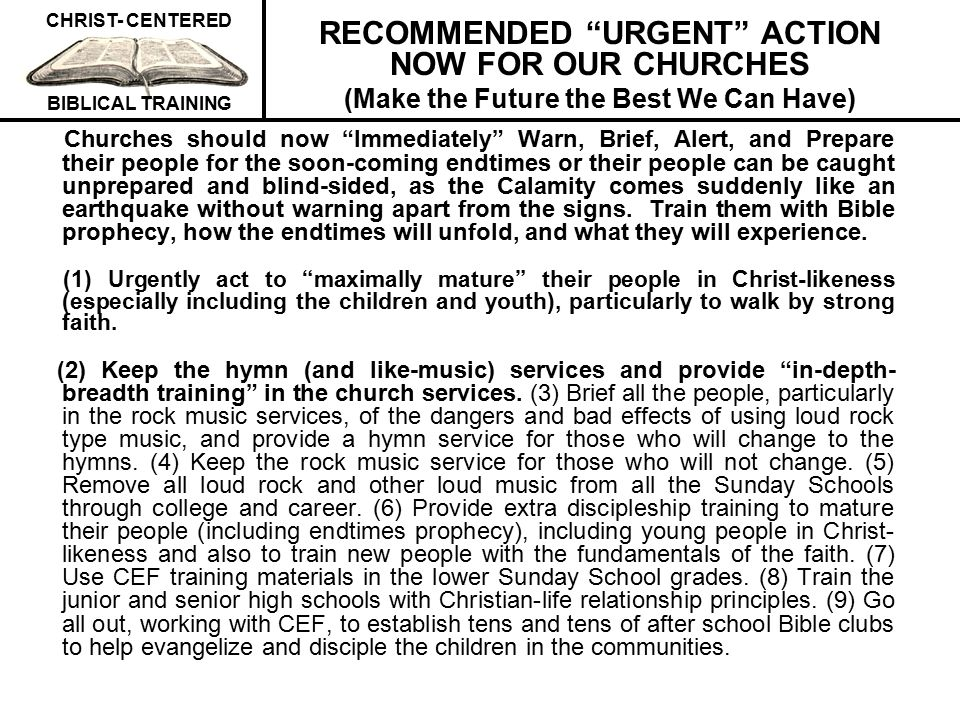 RECOMMENDED URGENT ACTION NOW FOR OUR CHURCHES